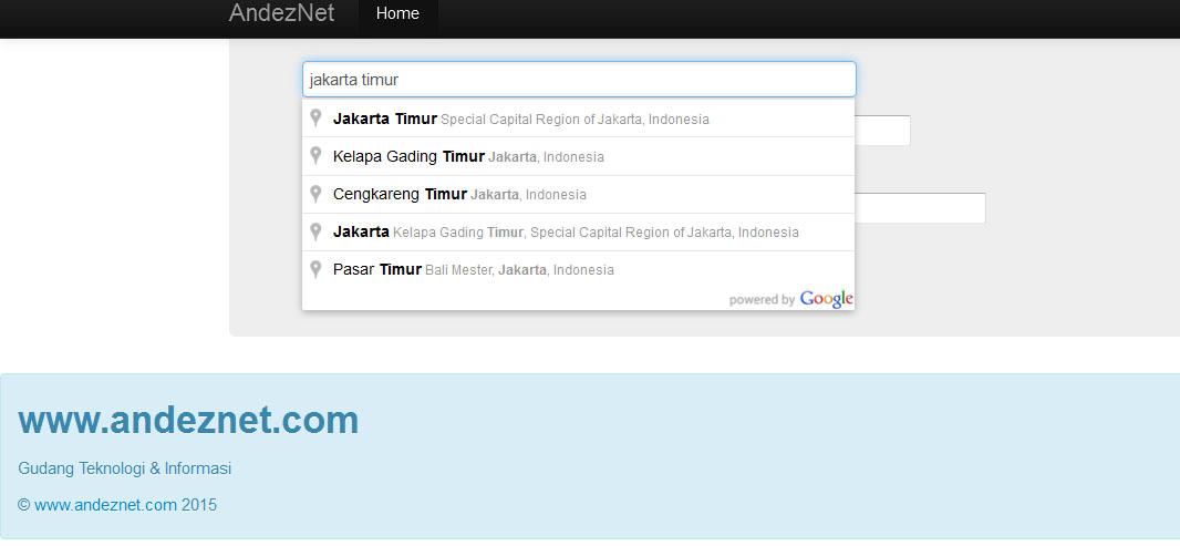 Membuat form pencarian alamat Autocomplete, mengunakan Geocoder